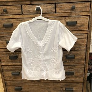 Tops - Hand Made White Embroidered Blouse Size Small